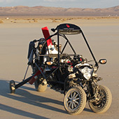 Inventor is building a flying car and testing it in a desert